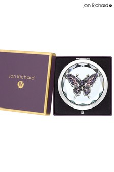 Jon Richard Silver Plated Butterfly Compact Mirror - Gift Boxed