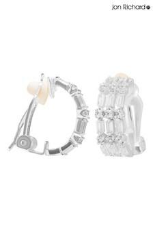 Jon Richard Silver Plated Multi Baguette Cubic Zirconia Clip On Hoop Earring