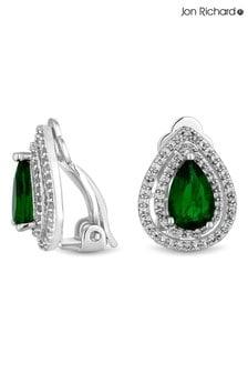 Jon Richard Silver Plated Green Pear Clip On Earrings