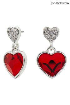 Jon Richard Silver Plated Made with Swarovski Red Dancing Heart Drop Earrings