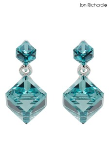 Jon Richard Silver Plated Made with Swarovski Aqua Cube Earrings