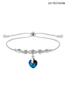 Jon Richard Silver Plated Made with Swarovski Bermuda Blue Heart Toggle Bracelet