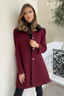 Lipsy Faux Fur Collar A Line Coat