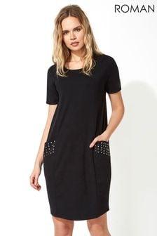 Roman Pocket Stud Detail Slouch Dress
