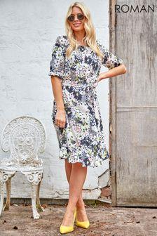 Roman Floral Mixed Print Frill Hem Tea Dress