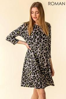 Roman Contrast Animal Print Dress