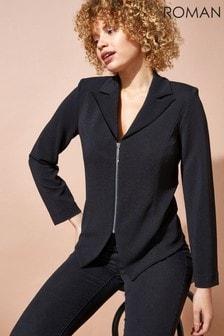 Roman Zip Through Textured Long Sleeve Jacket