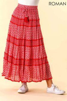 Roman Monochrome Print Tiered Maxi Skirt