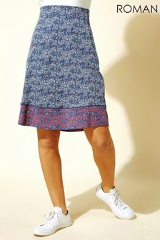 Roman A Line Mosaic Print Skirt