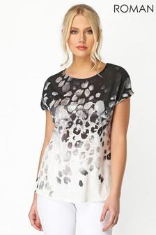 Roman Ombre Foil Print T Shirt