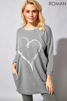 Roman Foil Heart Pocket Sweater Top