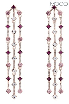 Mood Pink And Purple Crystal Delicated Earrings