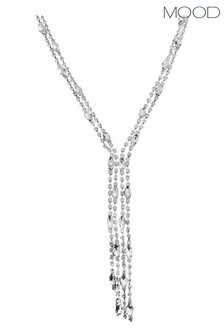Mood Silver Plated Crystal Diamante Lariat Necklace