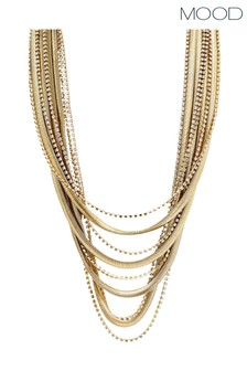 Mood Gold Plated Multirow Diamante And Chain Necklace