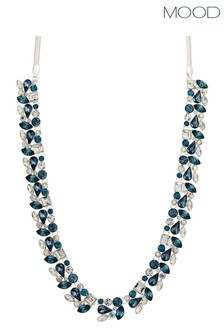Mood Silver Plated Blue Crystal Cluster Necklace