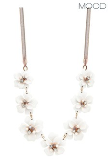 Mood Rose Gold Plated Crystal White Flower Necklace