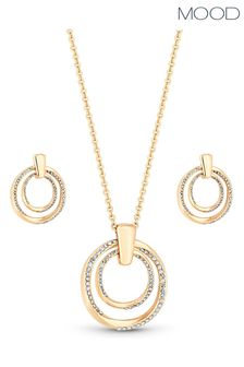 Mood Rose Gold Plated Polished And Crystal Twist Open Set