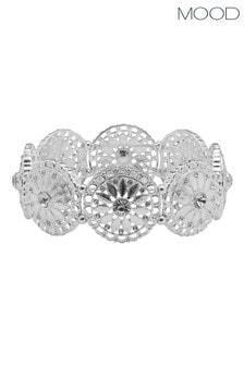 Mood Silver Plated Wide Filagree Stretch Bracelet