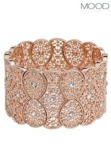 Mood Rose Gold Plated Wide Filagree Stretch Bracelet