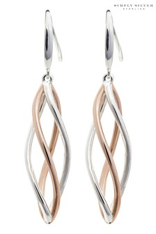 Simply Silver Sterling Silver 925 Tri-Tone Polished Drop Earrings