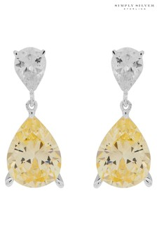 Simply Silver Sterling Silver 925 Cubic Zirconia Canary Pear Drop Earrings