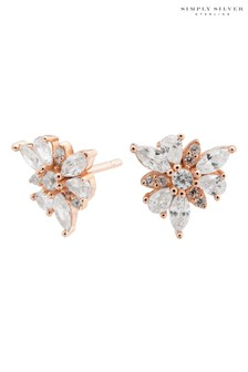 Simply Silver 14ct Rose Gold Sterling Silver 925 Cubic Zirconia Mis Match Flower Earrings