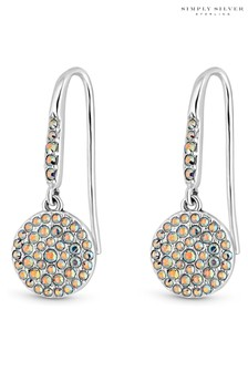 Simply Silver Sterling Silver 925 Made With Swarovski Aurora Borealis Round Drop Earrings
