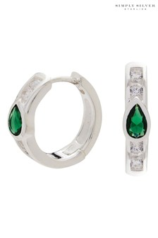 Simply Silver Sterling Silver 925 Cubic Zirconia Emerald Green Detail Mini Hoop