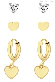 Simply Silver 12ct Yellow Gold Sterling Silver 925 Hearts Earrings - Pack of 3