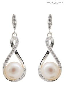 Simply Silver Sterling Silver 925 Freshwater Pearl Infinity Drop Earrings