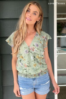 Love & Roses Dobby Floral Wrap Top