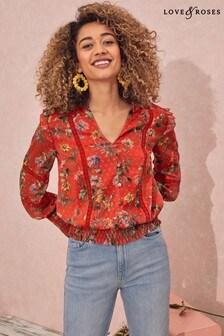 Love & Roses Shirred Hem Lace Trim Blouse