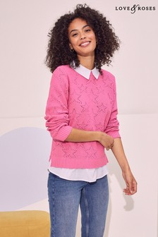 Love & Roses 2 in 1 Collared Shirt Jumper