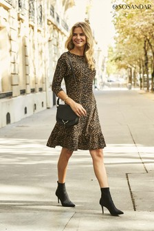 Sosandar Animal Print Jersey Relaxed Sleeve Shift Dress