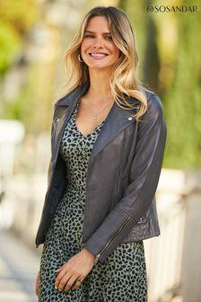 Sosandar Leather Biker Jacket