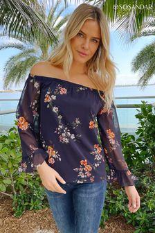 Sosandar Floral Sheer Sleeve Bardot Top