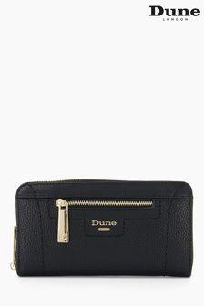 Dune London Black Kallas Stitch Detail Zip Around Wallet
