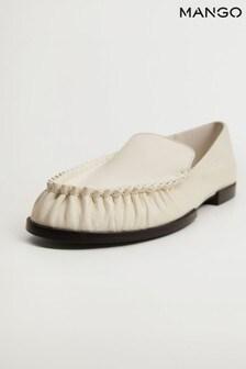 Mango Gathered Leather Moccasin Shoes