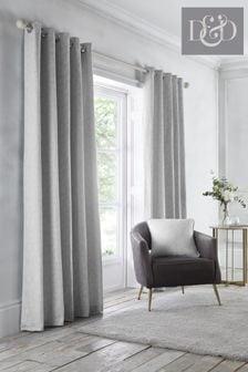 D&D Silver Telford Eyelet Curtains