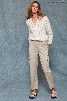 Mint Velvet Cream Beige Washed Cargo Trousers