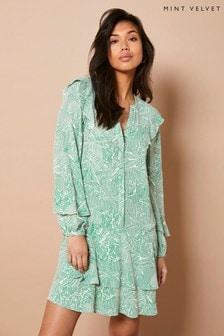 Mint Velvet Green Valerie Ruffled Mini Dress