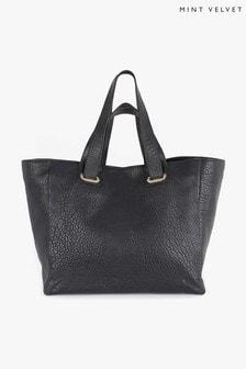 Mint Velvet Black Sasha Leather Shopper Tote Bag