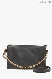 Mint Velvet Black Ollie Leather Zipped Bag