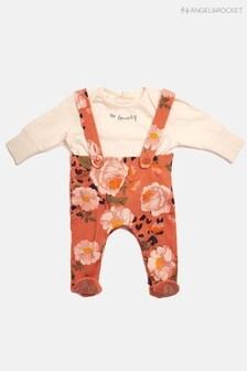 Angel & Rocket Newborn Girls Orange Petra Floral Dungaree And Long Sleeve T-Shirt