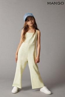 Mango Yellow Cotton Long Jumpsuit