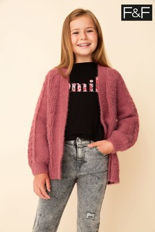 F&F Red Fluffy Cable Cardigan