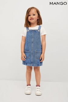 Mango Blue Pocket Denim Pinafore Dress
