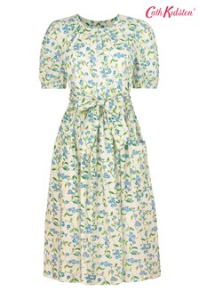 Cath Kidston Forget Me Not Cream Puff Sleeve Tie Waist Midi Dress