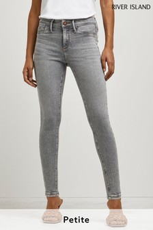 River Island Grey Light Molly Ripped Sculpt Levy Jeans