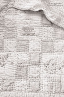The White Company White Noah's Ark Cot Bed Quilt